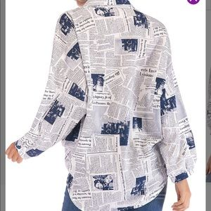 🔥Newspaper Print Pattern Shirt